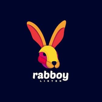 Логотип иллюстрация кролик мальчик градиент красочный стиль.