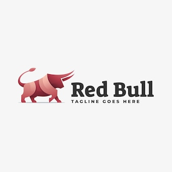 Logo illustration red bull gradient colorful style.