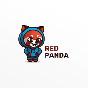 Иллюстрация логотипа красная панда талисман мультяшном стиле.
