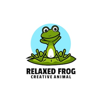 Logo illustration relaxed frog mascot cartoon style.