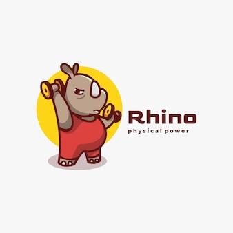 로고 그림 rhino 간단한 마스코트 스타일.