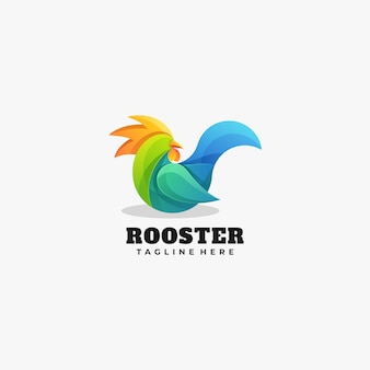 Logo illustration rooster gradient colorful style.