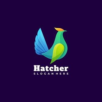 Логотип иллюстрация петух градиент красочный стиль.