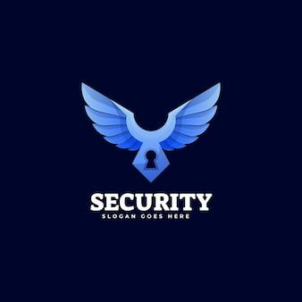 Иллюстрация логотипа безопасности градиент красочный стиль.