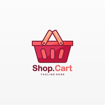 Logo illustration shop cart cute cartoon.