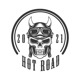 Logo illustration of skull with rider helmet