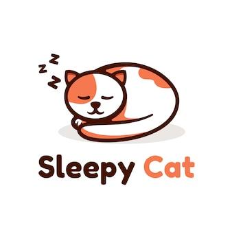 Логотип иллюстрация сонный кот простой стиль талисмана.