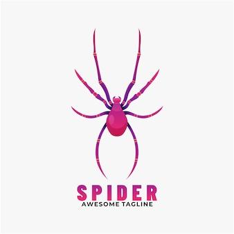 Логотип иллюстрация паук градиент красочный стиль.