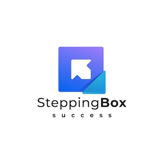 Логотип иллюстрация шаговая коробка градиент красочный стиль.