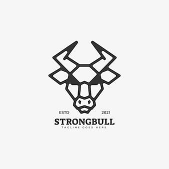 Логотип иллюстрация strong bull line art style.