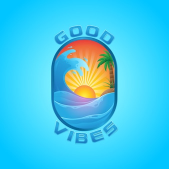 Logo illustration summer tropical with wave and sunset art
