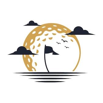 Logo illustration   of sunset golf