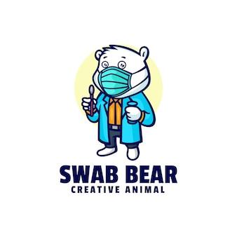Иллюстрация логотипа мазок тест медведя талисман мультяшном стиле