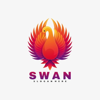 Logo illustration swan gradient colorful style.