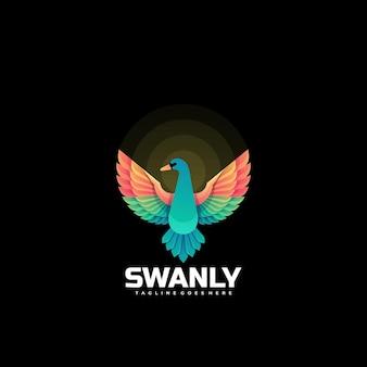 Логотип иллюстрация лебедь градиент красочный стиль.