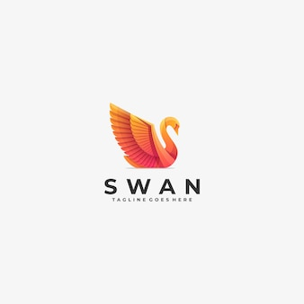 Logo illustration swan gradient colorful.