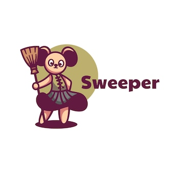 Logo illustration sweeper mascot cartoon style.