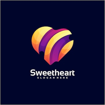 Logo illustration sweet heart gradient colorful style.