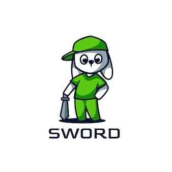 Логотип иллюстрация меч талисман мультяшном стиле.