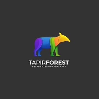 Logo illustration tapir forest gradient colorful