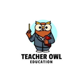 Логотип иллюстрации учителя сова талисман мультяшном стиле