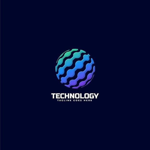 Логотип иллюстрация технологии градиент красочный стиль.