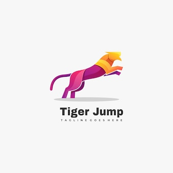 Logo illustration tiger gradient colorful style.