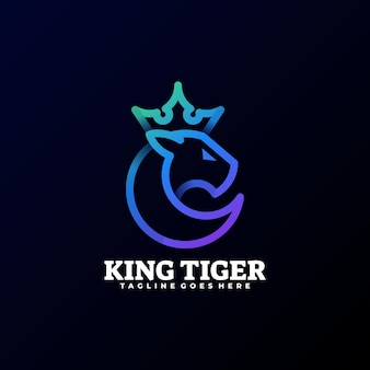 Logo illustration tiger gradient line art style.