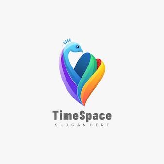 로고 그림 시간 공간 그라데이션 다채로운 스타일.