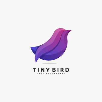 Logo illustration tiny bird gradient colorful style.