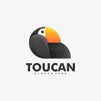 Logo illustration toucan gradient colorful style.