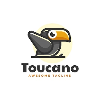 Logo illustration toucan simple mascot style