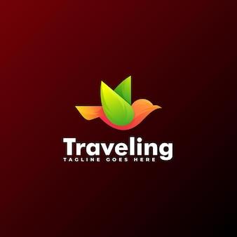 Logo illustration traveling bird gradient colorful style.