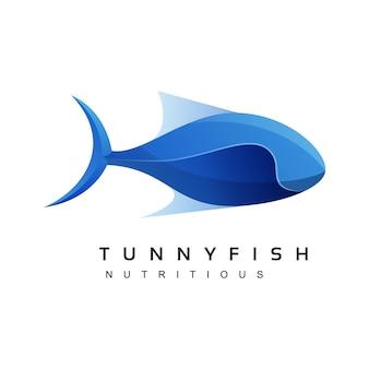 Иллюстрация логотипа тунца рыбы градиент красочный стиль.