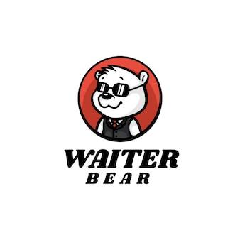 Logo illustration waiter bear mascot cartoon style