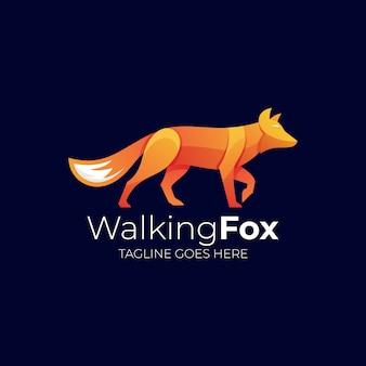 Логотип иллюстрация walking fox gradient colorful