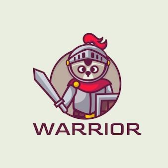 Логотип иллюстрация воин талисман мультяшном стиле.