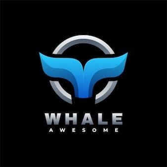 Логотип иллюстрация кит градиент красочный стиль.