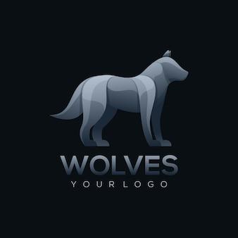 Логотип иллюстрации волк красочный стиль