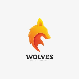 Logo illustration wolves gradient colorful style.