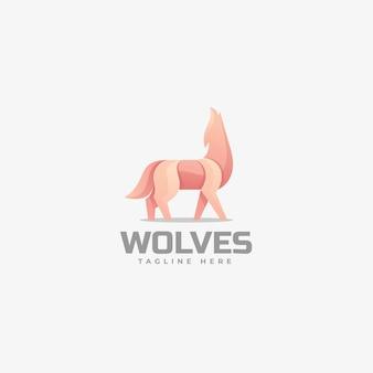Логотип иллюстрация волки градиент красочный стиль.