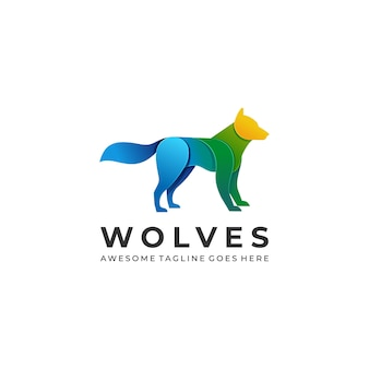 Logo illustration wolves gradient colorful