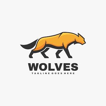 Logo illustration wolves simple mascot style