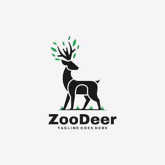 ロゴイラスト動物園鹿シルエットスタイル。