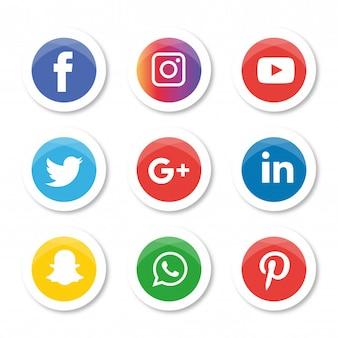 Набор значков в социальных сетях. logo illustrator. facebook, instagram, whatsapp,