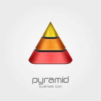 ピラミッド型のデザインテンプレートの形をしたロゴ