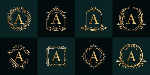 로고 이니셜 a, 고급 장식 또는 꽃 프레임, 세트 컬렉션.
