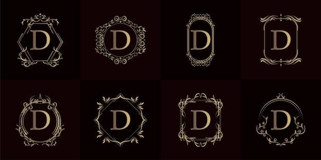豪華な飾りや花のフレームが付いたロゴの頭文字d、セットコレクション。