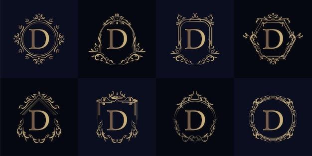고급 장식 또는 꽃 프레임이있는 로고 이니셜 d