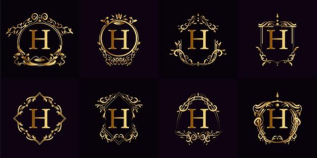 고급 장식 또는 꽃 프레임이있는 로고 이니셜 h